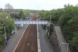Liskeard railway station - Looking towards Plymouth from the road bridge. Beyond the replacement footbridge (installed in 2013) the connection to the Looe Branch is on the left and the main line continues straight ahead across Liskeard Viaduct.