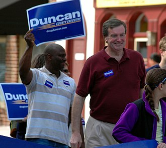 Doug Duncan - Duncan campaigning in the Kentlands Parade during 2014 election.