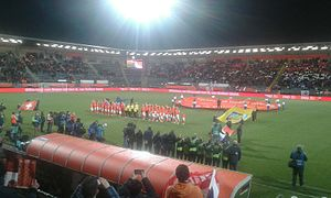 2016 UEFA Women's Olympic Qualifying Tournament - Before the kick-off of Netherlands vs. Switzerland