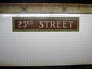 23rd Street (IRT Broadway–Seventh Avenue Line) - Name tablet