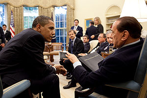 Italy–United States relations - US President Barack Obama meets with Italian Prime Minister Silvio Berlusconi.