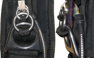 3-ring release system - Front and side views of a 3-ring (mini rings) release system on a single riser of a packed main parachute