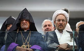 Ali Younesi - Opening ceremony of Pan-Armenian Games at the Ararat Stadium on 13 September 2016: Sepuh Sargsyan (left) and Ali Younesi (right)