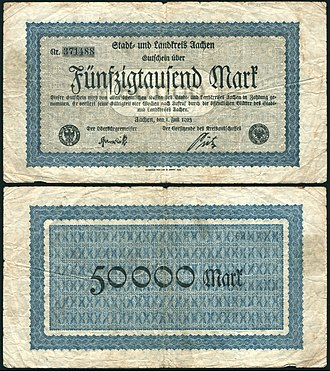 Hyperinflation in the Weimar Republic - Image: 50000 mark aachen