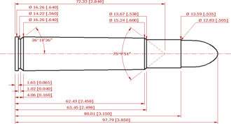 .505 Gibbs - CIP compliant schematic of the .505 Magnum Gibbs - all dimensions in mm (in))