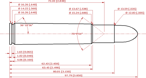 C.I.P compliant schematic of the .505 Magnum Gibbs