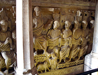 Early Christian sarcophagi - Detail of the central panel of the Sarcophagus of Stilicho, Basilica of Saint Ambrose, Milan.
