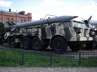 9K52 Luna-M - 9T29 transporter carrying a 9M21 missile for a 9K52 Luna-M missile complex in Saint Petersburg Artillery museum