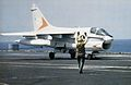 A-7E of VA-81 landing on USS Forrestal (CV-59) 1981.jpg