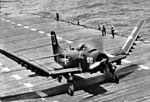 AD-4 from VA-125 folding wings on USS Boxer (CVA-21) 1954.jpg