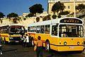 """AEC Swift """" Street Hawker """" FBY776, and Plaxton bus EBY497 """" Lockeys"""" at Floriana Valletta, Malta. April 1996 - Flickr - sludgegulper.jpg"""