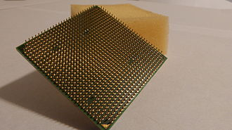 Pin grid array - The pin grid array on the bottom of an AMD Phenom X4 9750 processor that uses the AMD AM2+ socket.