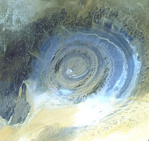 Dome (geology) - The Richat Structure in the Sahara Desert of Mauritania. Long considered to be an impact structure, it is  now  believed by most to be a structural dome.