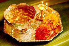 Szczęśliwy taca Ugadi pudża Telugu Hinduski Nowy Rok Vaisakhi.jpg