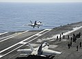 A Super Hornet launches from USS Dwight D. Eisenhower. (8701368085).jpg