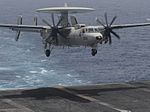 A U.S. Navy E-2C Hawkeye aircraft assigned to Airborne Early Warning Squadron (VAW) 117 lands aboard the aircraft carrier USS Nimitz (CVN 68) June 19, 2013, in the Gulf of Oman 130619-N-AZ866-266.jpg
