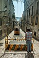 A classical funicular of the streets of Lisbon (Elevador da Bica- upper terminus), Portugal, Southwestern Europe.jpg
