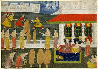 Fireworks - A firework display for Muḥammad Sháh, portrayed seated and leaning against a bolster.