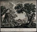 A landscape with a lake, a cottage and ruins, the peasants a Wellcome V0047993.jpg