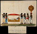 A man laying in a litter, being carried by four men. Coloure Wellcome V0041080.jpg