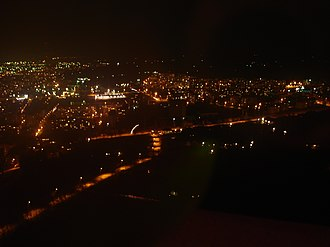 Rousse TV Tower - A night view of Ruse from its TV and Radio Broadcasting Tower