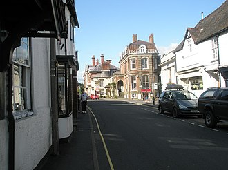 Church Stretton - High Street, near the junction with Sandford Avenue. The building in the centre was once the town's main hotel, until the 1960s.