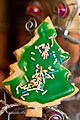 A taste of things to come - Christmas tree sugar cookie with sprinkles.jpg