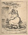 A voluminous woman crossing a bush in a circle of foliage to Wellcome V0011309.jpg