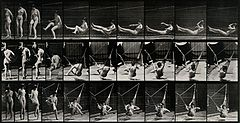 A woman getting into a hammock. Photogravure after Eadweard Wellcome V0048661.jpg