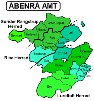 Aabenraa County - Aabenraa County. The entire province became part of South Jutland County in 1970.