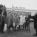 Aankomst Nederlands elftal op Schiphol, v.l.n.r. Graafland, Korver, Moulijn, Haa, Bestanddeelnr 917-3825.jpg