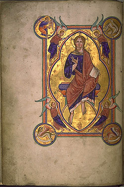 In the strictest definition of illuminated manuscript, only manuscripts decorated with gold or silver, like this miniature of Christ in Majesty from the Aberdeen Bestiary (folio 4v), would be considered illuminated.