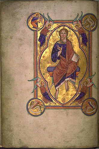 Illuminated manuscript - In the strictest definition of illuminated manuscript, only manuscripts with gold or silver, like this miniature of Christ in Majesty from the Aberdeen Bestiary (folio 4v), would be considered illuminated.