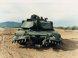 Mine plow - U.S. Army M1A1 Abrams tank with mine plow from 1995 or earlier