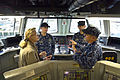 Acting Deputy Defense Secretary Christine H. Fox and Navy Vice Adm. Tom Copeman discuss technical aspects of the USS Freedom while touring the ship's bridge during her visit to San Diego 140210-D-NI589-930c.jpg