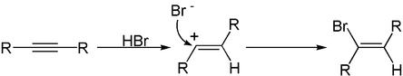 Addition von Bromwasserstoff an ein Alkin