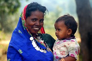 Adivasi woman and child, Chhattisgarh, India. ...