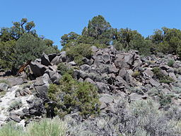 Adobe Hills - basaltic outcrop along Dobie Meadows Rd in Mono County, California.JPG
