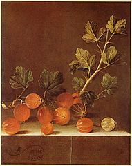 Spray of Gooseberries on a Stone Plinth