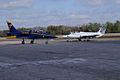 Aero Vodochody L-39C Albatros Blue7 Taxi In 06 past Aero Vodochody L-29 Delfin TICO 13March2010 (14619463883).jpg