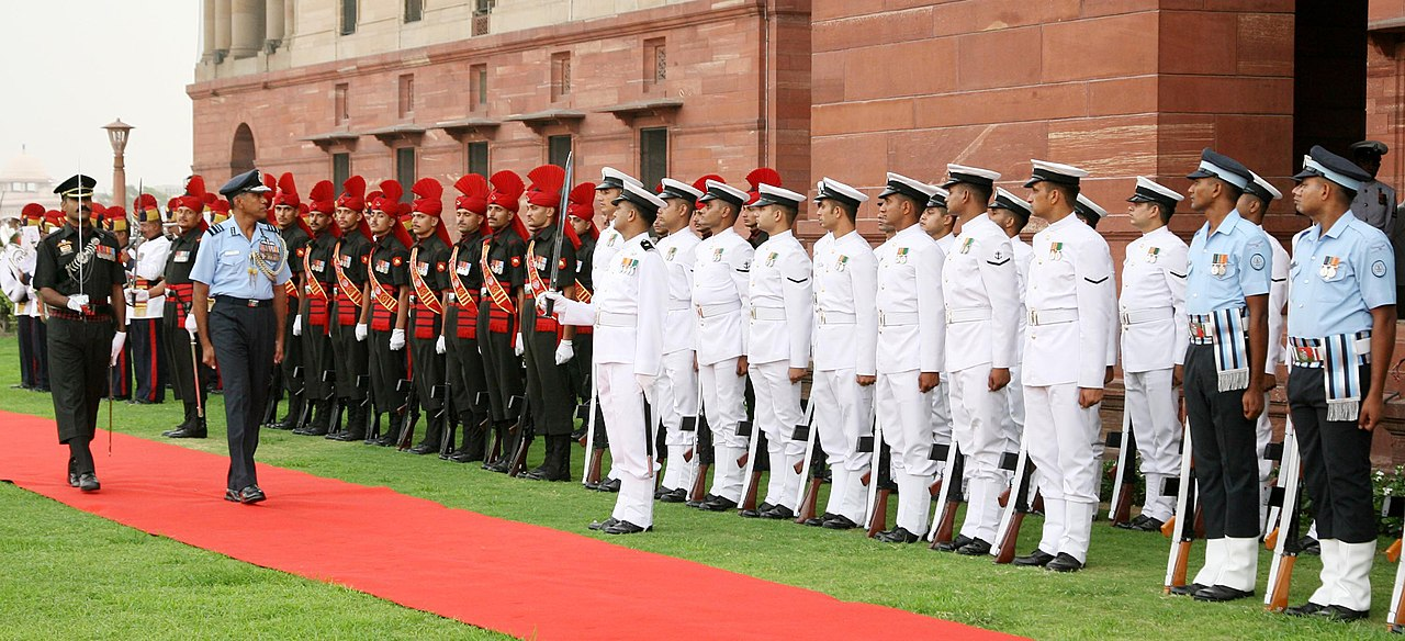 After taking over as Chief of Integrated Defence Staff to the Chairman Chiefs of Staff Committee, Air Marshal P.P. Reddy being given Tri-Services Guard of Honour, in New Delhi on July 01, 2014.jpg