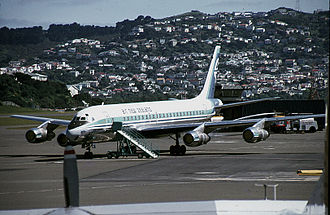 History of Air New Zealand - Air New Zealand DC-8 on the tarmac at Wellington in 1980
