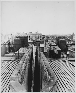 Old Law Tenement - The airshaft of a dumbbell tenement, ca. 1900