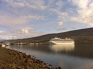 Akureyri harbor with cruise ship