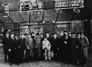 David Sarnoff - Sarnoff with Albert Einstein and other noted scientists and engineers on a tour of the RCA wireless station in New Brunswick, New Jersey in 1921