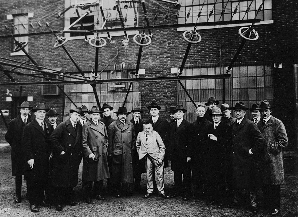 Albert Einstein with other engineers and scientists at Marconi RCA radio station 1921
