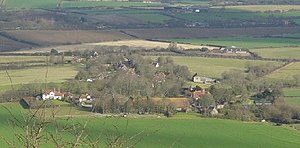Alciston - Image: Alciston from Bostal Hill geograph.org.uk 109292