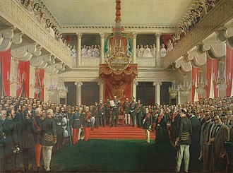 Speech from the throne - Tsar Alexander II of Russia reconvening the Diet of Finland in 1863.