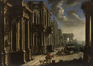 Alessandro Salucci - View with architecture, triumphal arch and figures