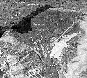Alfred Ernest Ice Shelf - Satellite image showing of Alfred Ernest Ice Shelf